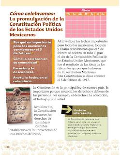 Exploración de la Naturaleza y la Sociedad 1er grado Bloque 3 Lección 6 Cómo celebramos:  La promulgación de la Constitución Política de los Estados Unidos Mexicanos