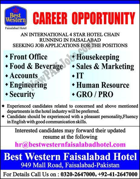 New 2018 Vacancies in Faisalabad, Best Western Hotel, Online Apply
