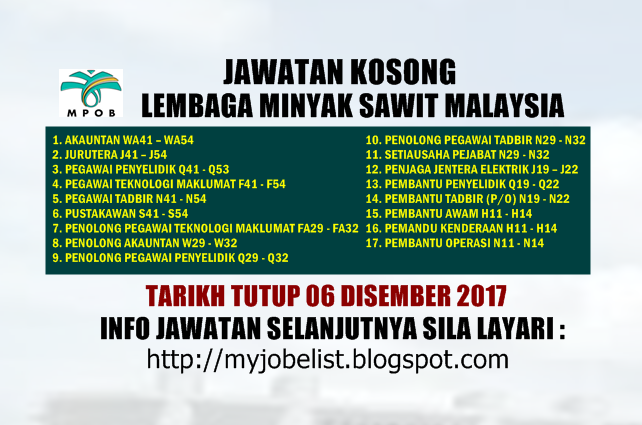 Jawatan Kosong di Lembaga Minyak Sawit Malaysia (MPOB) - 06 Disember 2017
