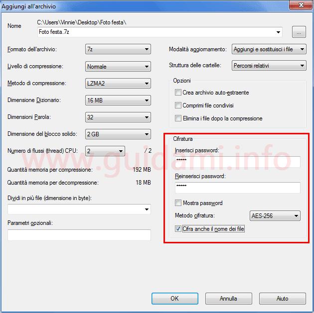 7zip finestra opzioni cifratura