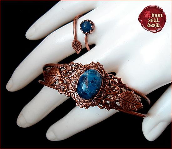 Bijoux sodalite bleu cuivre parure elfique féerique forêt nature bijouterie magique