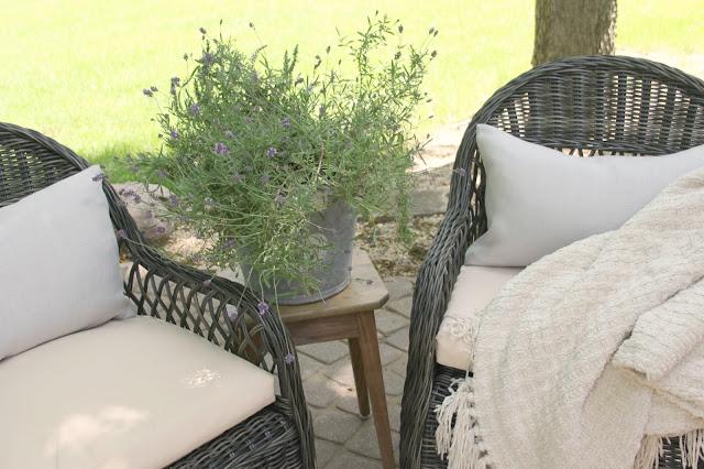 Gorgeous wicker Davies chairs (Decor Market) on patio - Hello Lovely Studio