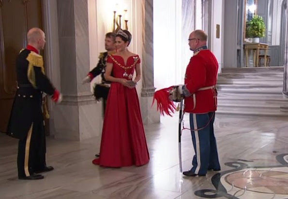 Crown Princess Mary wore Soeren le Schmidt dress, Princess Marie wore Rikke Gudnitz dress. Princess Elisabeth by Order of the Elephant