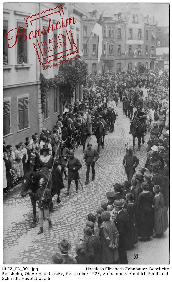 NLEZ_FA_001 Bensheim, Obere Hauptstraße, September 1925, Nachlass Elisabeth Zehnbauer, Stoll-Berberich 2016