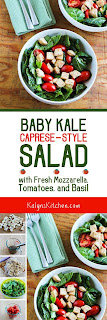 Baby Kale Caprese-Style Salad with Fresh Mozzarella, Tomatoes, and Basil found on KalynsKitchen.com