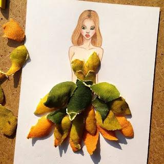 رسمة للفنان إيدجر باستخدام قشور الليمون والبرتقال