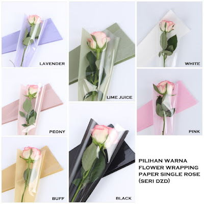 Flower Wrapping Paper Single Rose (Seri DZD)