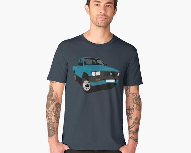 toyota hilux pickup petrol blue t-shirt