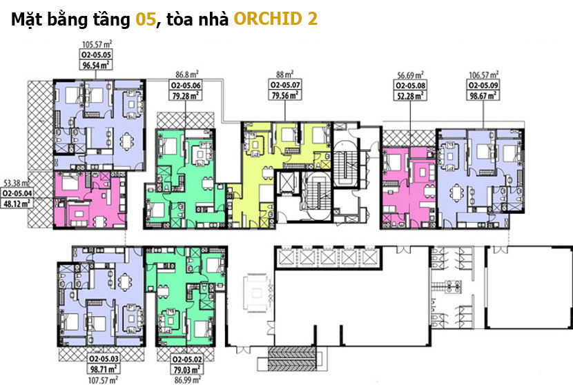 Mặt bằng tầng 5 Orchid 2 - Hado Centrosa Garden