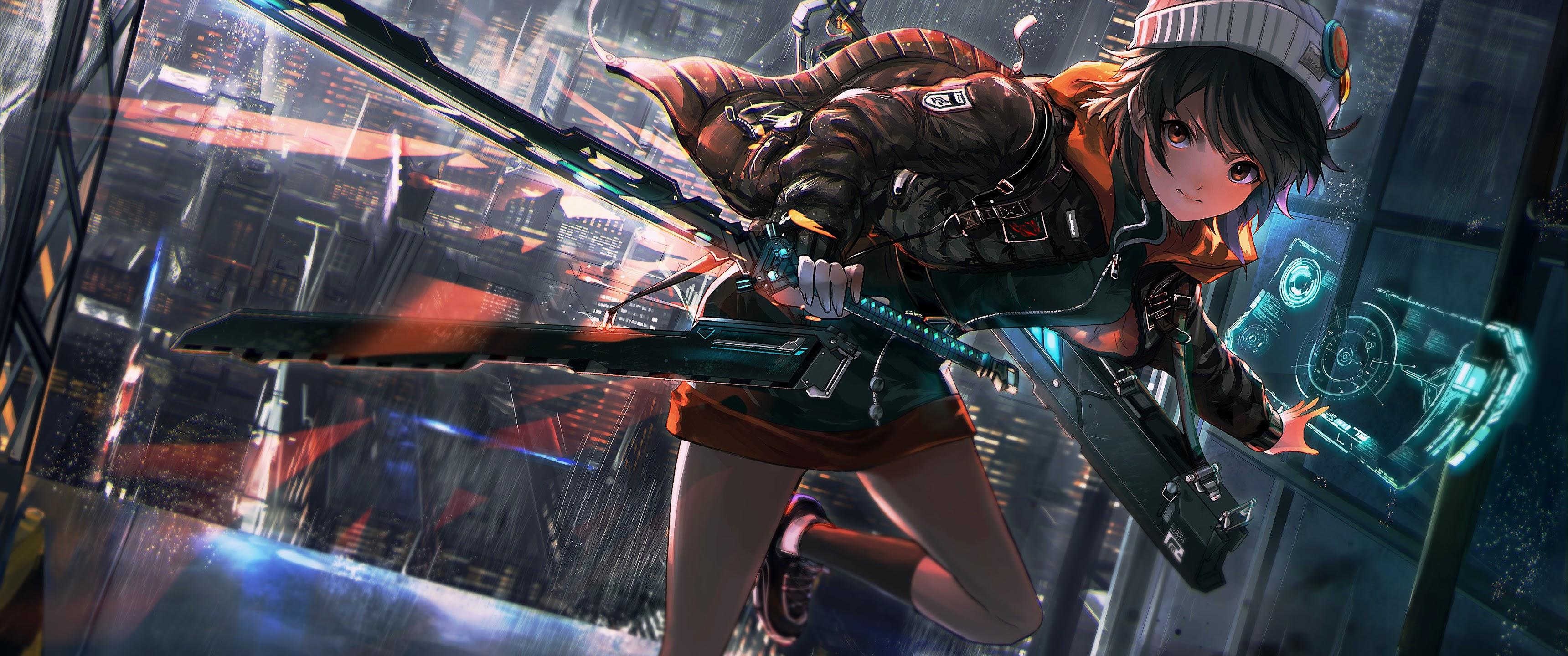 Epic Girl With Gun Wallpaper Anime Girl Sci Fi Katana 4k 3840x2160 27 Wallpaper
