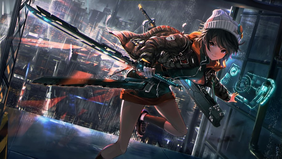 Anime, Girl, Sci-Fi, Katana, 4K, 3840x2160, #27 Wallpaper