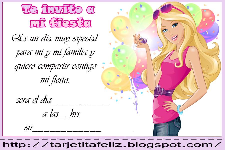 Tarjetas De Cumpleaños Para Imprimir Invitacion De Barbie
