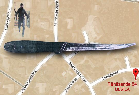 Kuva: Ulvilan murha - fileerausveitsi takkahuoneen lattialla