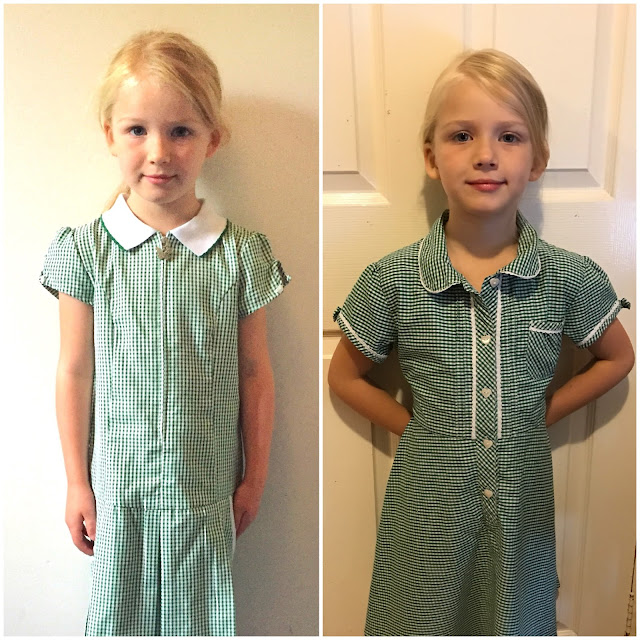 A picture of M in a green and white checked summer dress on her first day in Reception next to her last day in Reception
