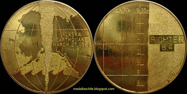Medalla Terremoto Alaska ALASKA/ EARTHQUAKE/ MARCH 27 1964