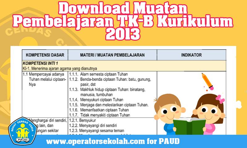 Download Muatan Pembelajaran TK-B Kurikulum 2013