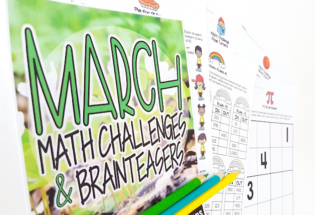 Print-and-go math challenges and brainteasers with holiday and spring themes for March! 25 math printables with answer keys you can use for math groups, homework, fast finishers, holiday centers, or whole class problem solving! March themes include: St. Patrick's Day, leprechauns, rainbows, clovers, March Madness basketball, Pi Day, and Read Across America. Recommended as a challenge for grades 2-3