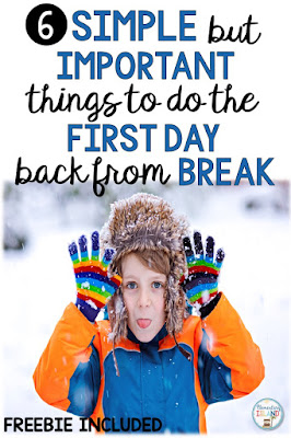 The first day back from a break can be difficult in the elementary classroom, especially a long break like winter break!  The students need a reminder of what school was like before break!  Here are some tips and activities that help get over that winter break hump, or any extended school break!  Students will enjoy being back at school and in the routine that they love and find fun. {1st, 2nd, 3rd, 4th, 5th} Freebie included #elementaryisland #winterbreak