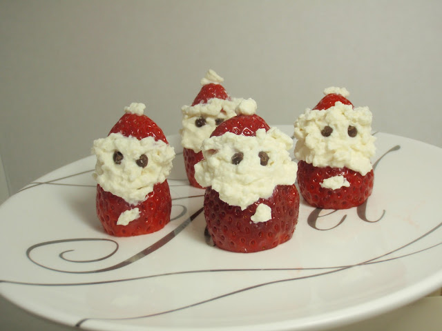 strawberry santas on plate