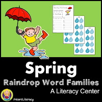 Raindrop Word Families – Students search through raindrops to match raindrop words to their word family base and then practice writing their raindrop words on their recording sheet.