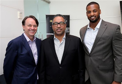 Brent Dewar, NASCAR president (l) Max Siegel, CEO of Rev Racing (c)  and Jusan Hamilton, NASCAR Racing Operations at the NASCAR  Drive for Diversity Combine at NASCAR headquarters
