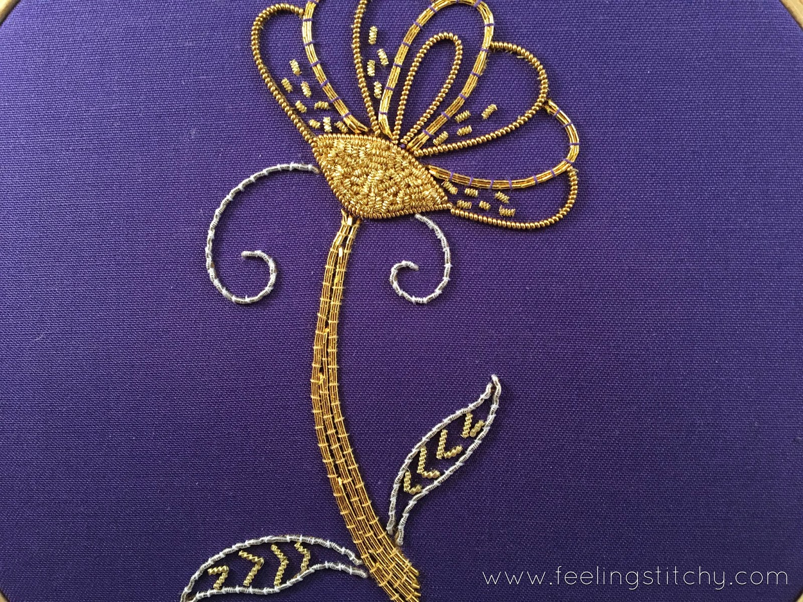 Goldwork Daisy Part 3 by Michelle for Feeling Stitchy