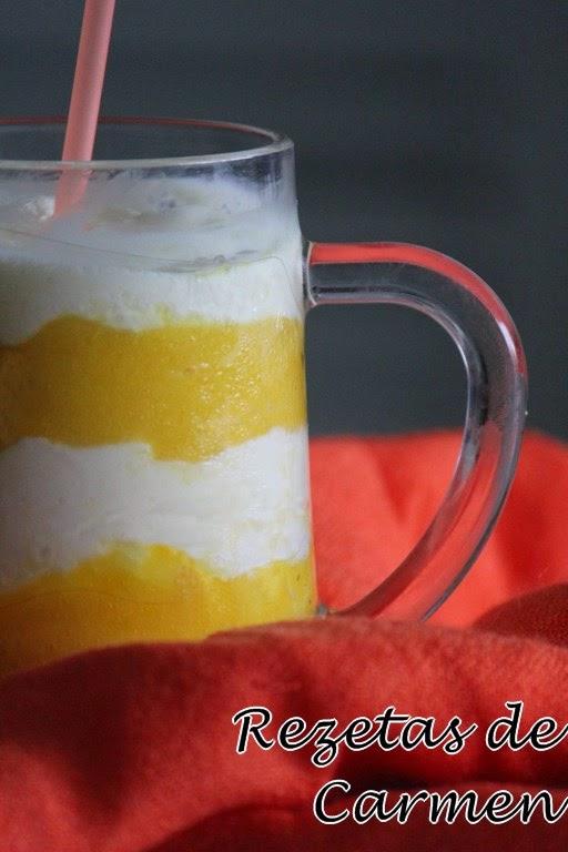 Granizado de yogur y mango