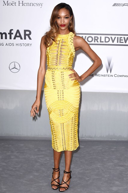 Jourdan Dunn in a canary yellow Balmain dress at Cannes, AmfAR Gala 2014