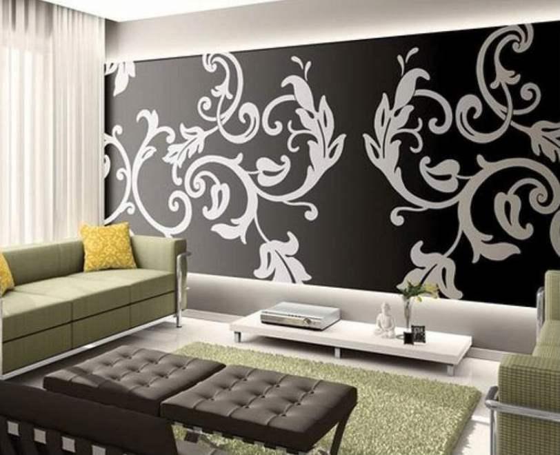 Contoh Desain Wallpaper Dinding Ruang Tamu Motih Hitam Putih