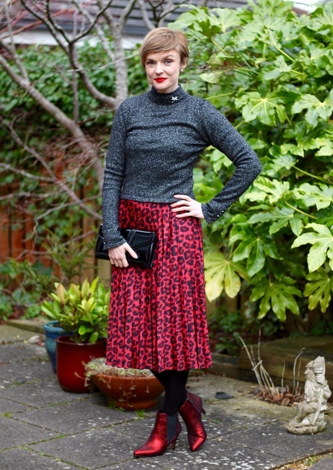 Lurex jumper, red leopard skirt and metallic boots | Fake Fabulous