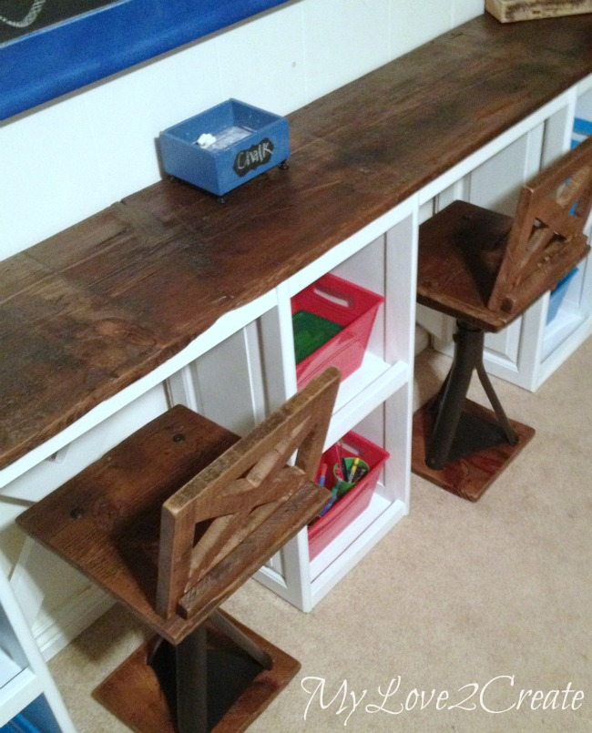 MyLove2Create, Rustic Industrial Kid Chairs with cabinet doors into desk