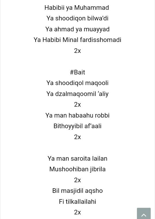 Lirik Habibi Ya Muhammad : lirik, habibi, muhammad, Lirik, Habibi, Muhammad