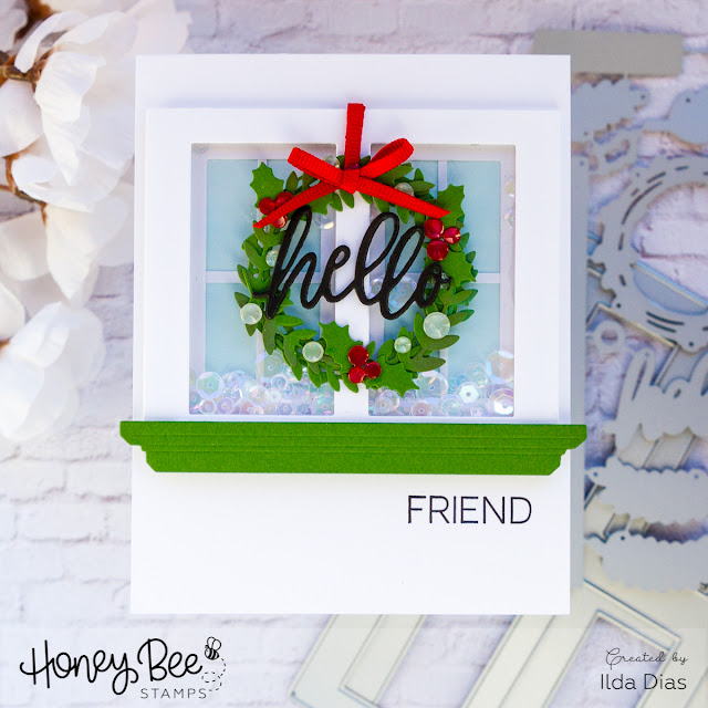 Honey Bee Stamps Deerly Loved Release | Hello Friend 3D Window Shaker Card  by ilovedoingallthingscrafty.com
