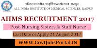 All India Institute of Medical Sciences Recruitment 2017– 475 Nursing Sisters & Staff Nurse