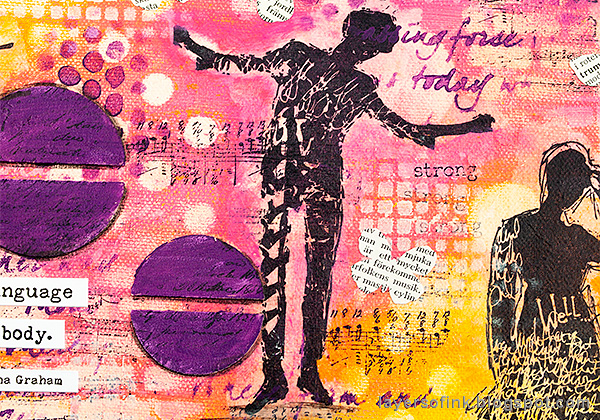 Layers of ink - Mixed Media Layers with Stencils and Stamps Canvas Tutorial by Anna-Karin Evaldsson, stamping on tissue paper technique.
