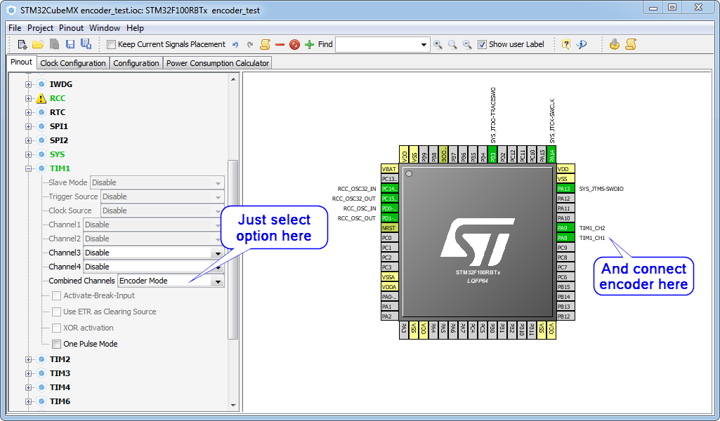 CubeMX - STM32 encoder interface
