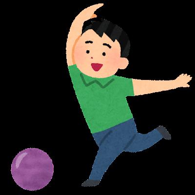 ボウリングをしている男性のイラスト