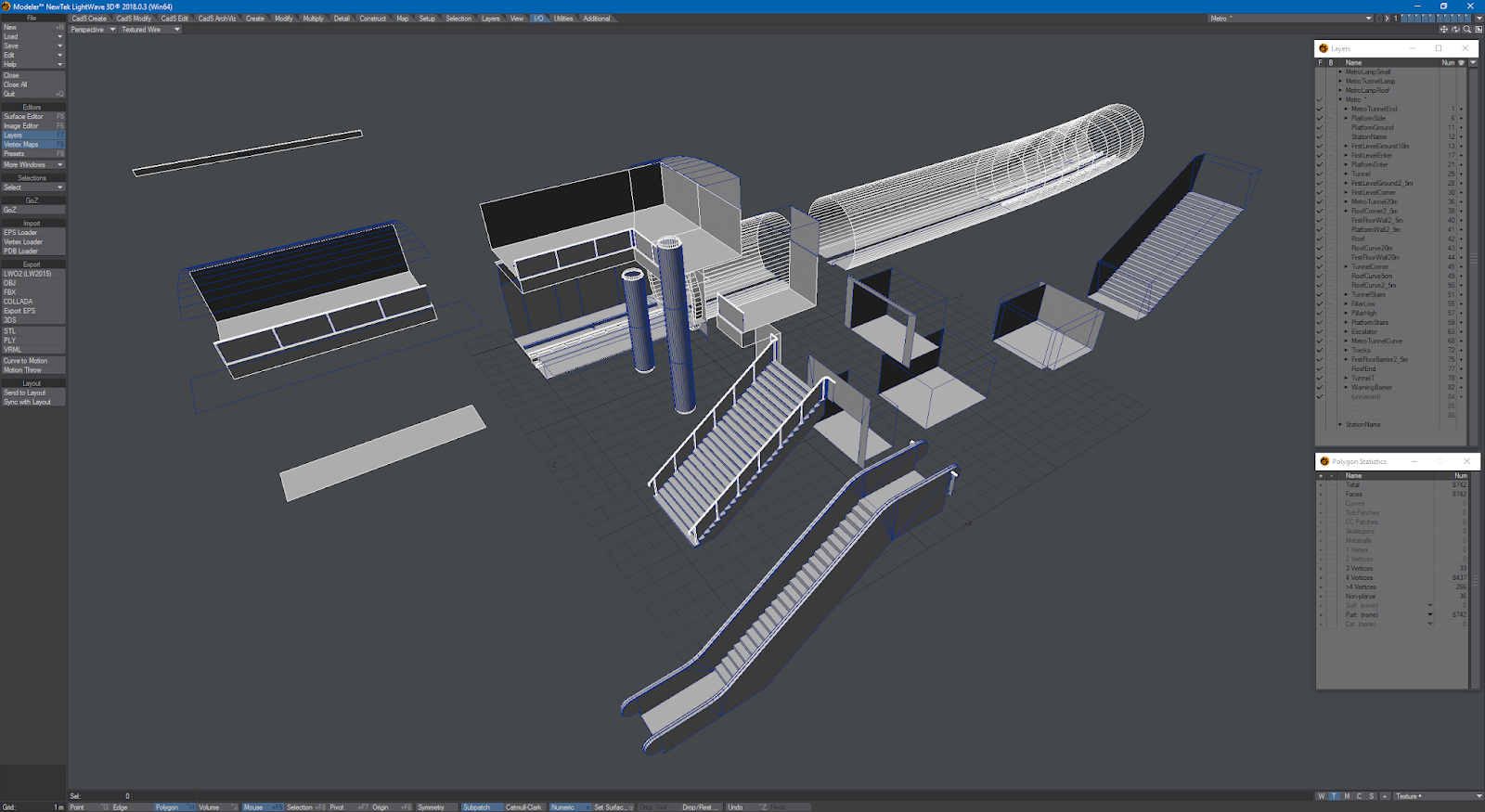 Modular low poly metro station LightWave 2018 + Unity