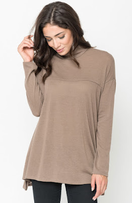 Buy Mocha Funnel Neck Draped Knit Tunic Online $20 -@caralase.com