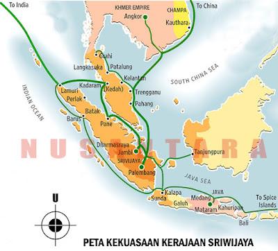Peta kekuasaam Kerajaan Sriwijaya