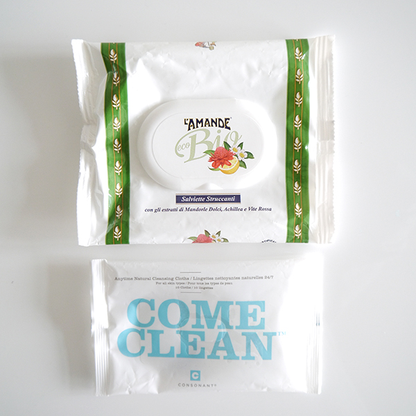 Consonant Come Clean face wipes and Italian L'Amande Eco Bio face wipes