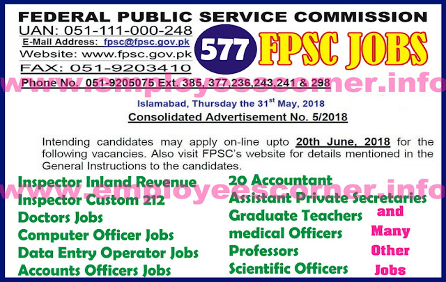Federal Public Service Commission Jobs June 2018
