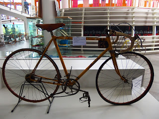 Bartali's 1948 Tour de France bike on display in the  museum at the church of Madonna del Ghisallo