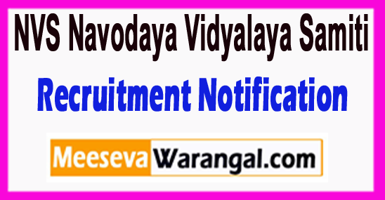 NVS  Navodaya Vidyalaya Samiti Recruitment Notification 2017
