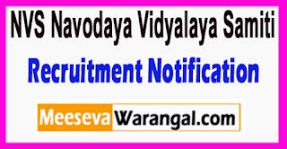 NVS  Navodaya Vidyalaya Samiti Recruitment Notification 2017 Last Date 05-07-2017