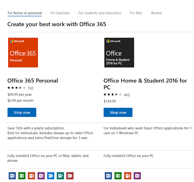 Microsoft Office 365 vs. 2016 subscription model vs one-time perpetual buy