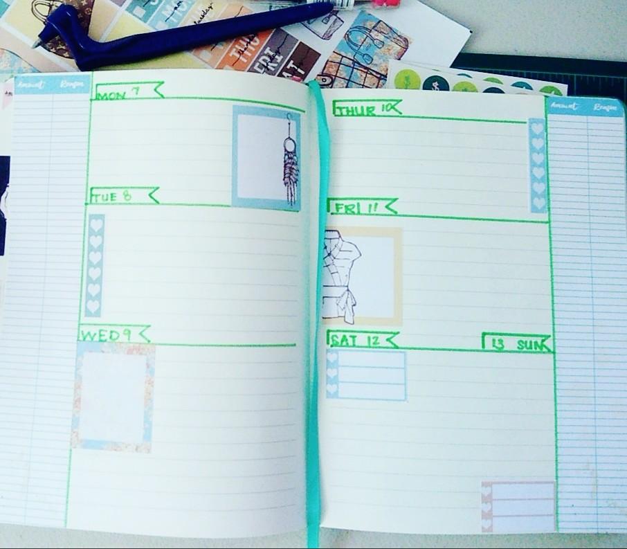 Mint Unicorn Bullet Journal Expense Tracker Sidebar