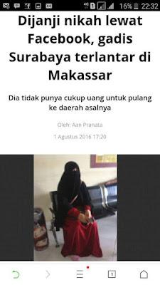 dijanjikan nikah lewat facebook, gadis surabaya terlantar