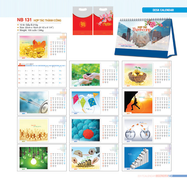 Mẫu lịch để bàn thị trường