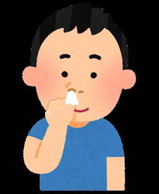 ティッシュを使って鼻くそをほじる人のイラスト
